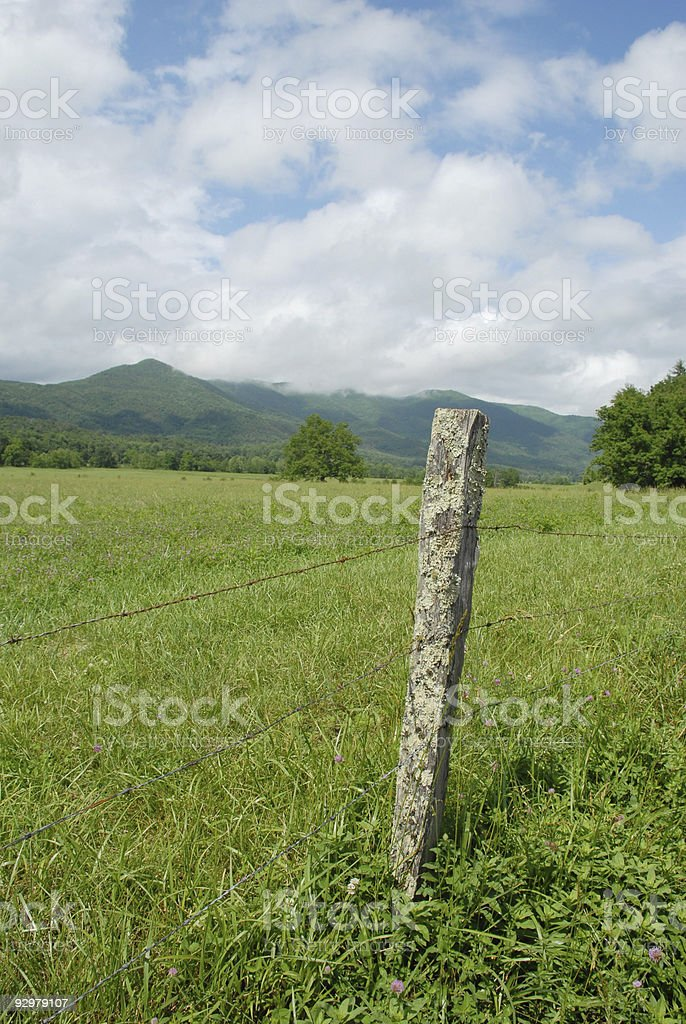 Wire fence and landscape at Cades Cove stock photo