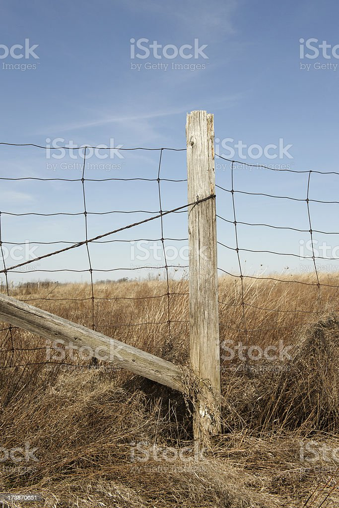 Wire Fence and Wooden Post royalty-free stock photo