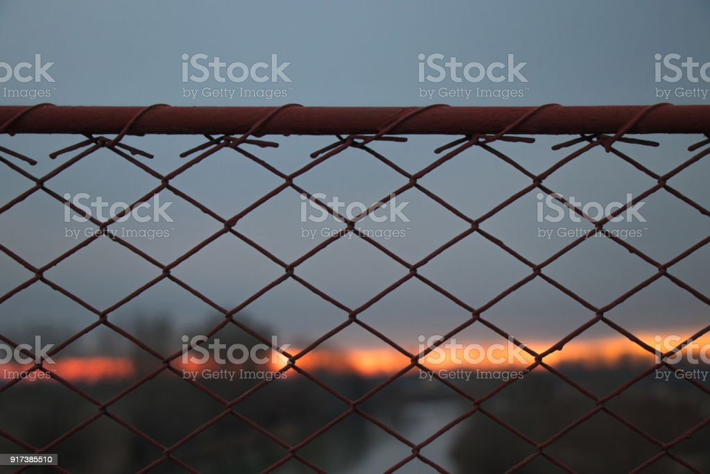 Wire fence at the sunset stock photo
