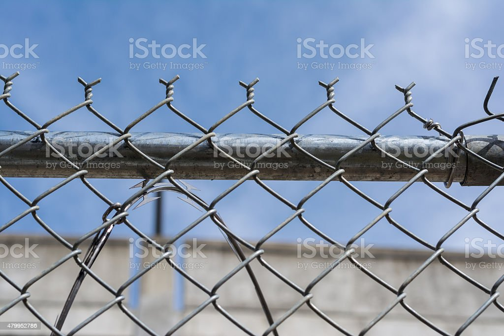 Wire fence for protection and safety under blue sky stock photo