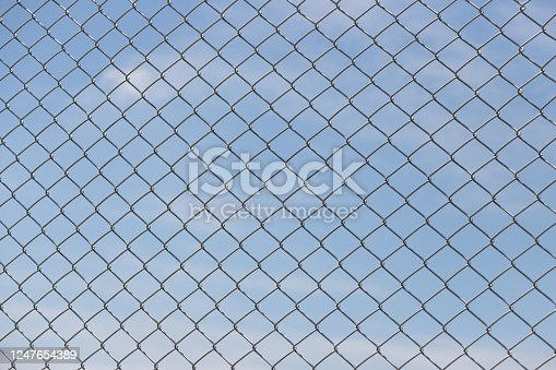 wire fence with blue sky background.