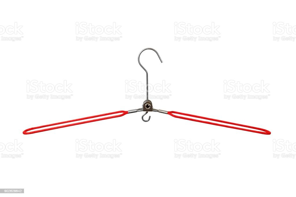 Wire folding coat hanger stock photo