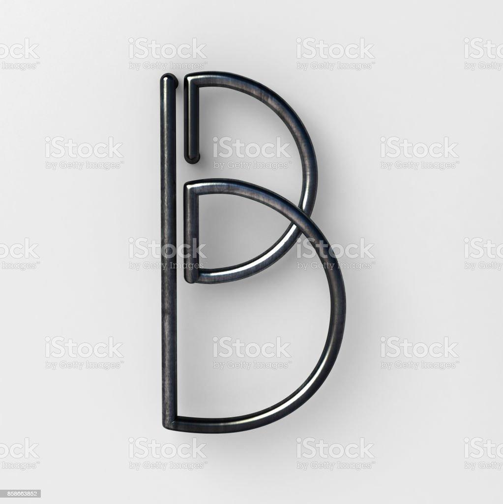 Draht-Schriftart mit glänzende Reflexion und weiche Schatten. Buchstabe B – Foto