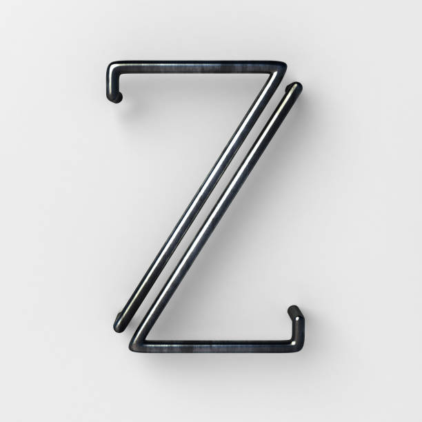 Wire Font with shiny reflection and soft shadows. Letter Z stock photo