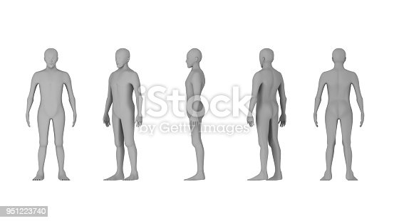istock Wire frame of human bodies. Polygonal model on white background. artificial intelligence concept, 3d illustration 951223740