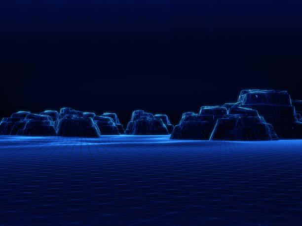 山の洞窟、崖モデル、抽象的な空間 background.3D のワイヤー フレーム ストックフォト