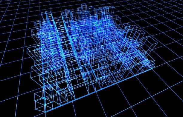 apresentação de frame de fio de arquitetura - wireframe solar power imagens e fotografias de stock