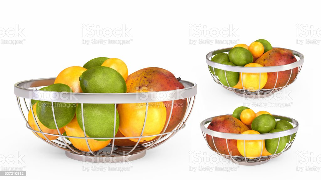 Wire Fruit Basket with Fruits stock photo