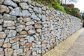 istock Wire Gabion Rock Fence. Metal Cage filled with rocks. 576928446
