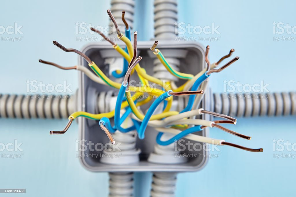 Wire Insulation Is Removed On Junction Box Stock Photo ... on electrical fire, electrical wire, electrical circuits, electrical receptacle types, electrical repair, electrical energy, electrical conduit, electrical shocks, electrical engineering, electrical fuses, electrical contracting, electrical cables, electrical grounding, electrical box, electrical equipment, electrical tools, electrical diagrams, electrical cord, electrical technology, electrical volt,