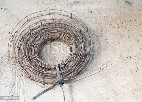 Wire mat roll on the concrete floor for use in the construction house.