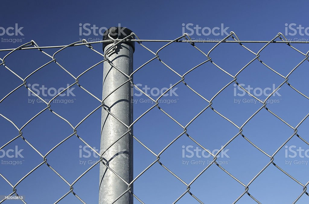 Wire netting fence with post royalty-free stock photo