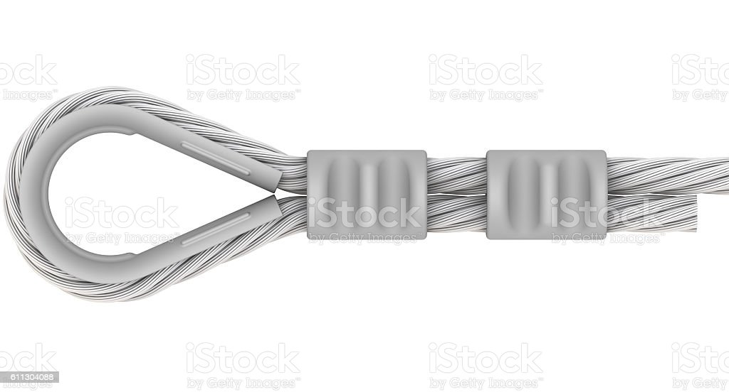 Wire rope. Attachment of rope. Loop stock photo
