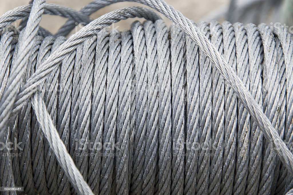 Wire rope cable spool stock photo