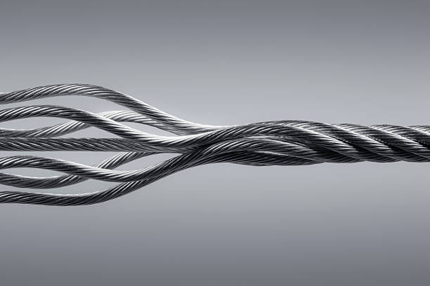 Wire rope. Connection Steel Link Strength Twisted Cable Abstract stock photo