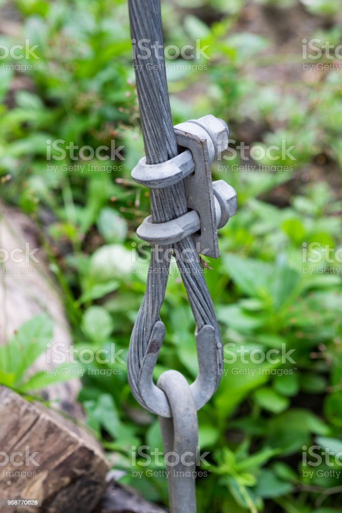 Wire rope heavy clamping screw lock stock photo