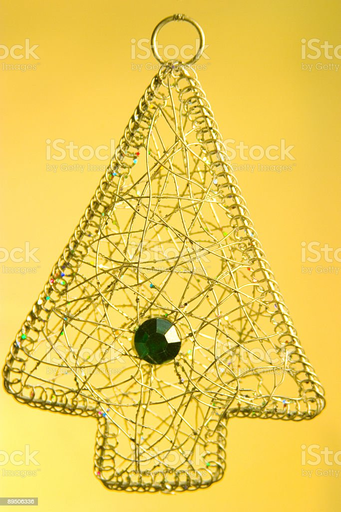 Wire Tree on Yellow Background royalty-free stock photo