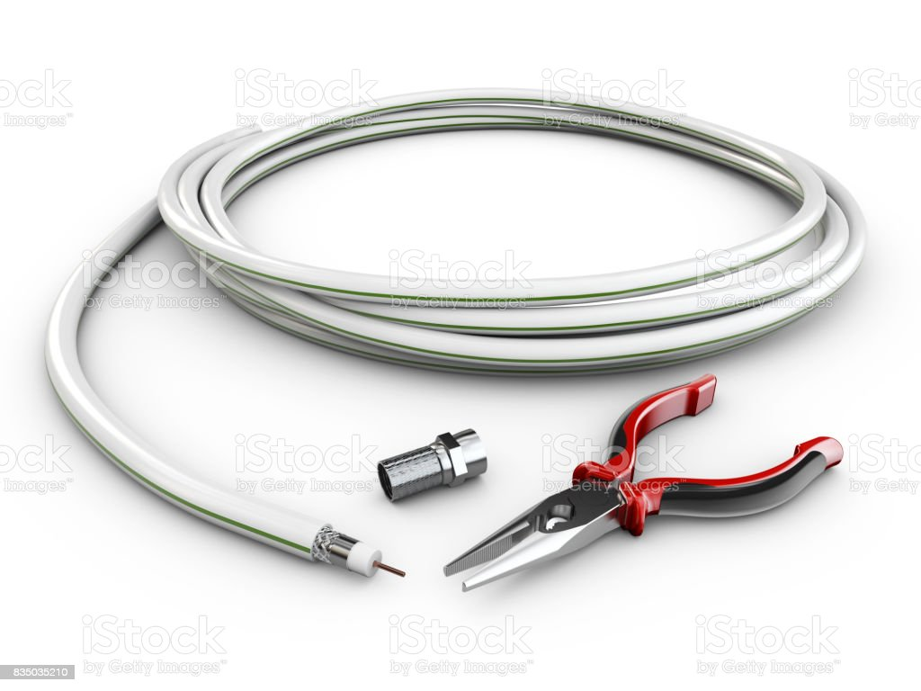 Wire TV Cable with Plug and Pliers, 3d illustration stock photo