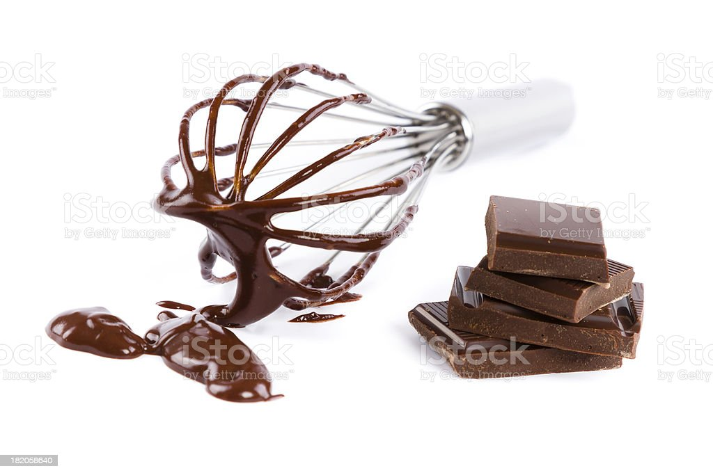 wire whisk with chocolate royalty-free stock photo