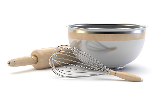 Wire whisk, wooden rolling pin and chrome bowl. 3D stock photo