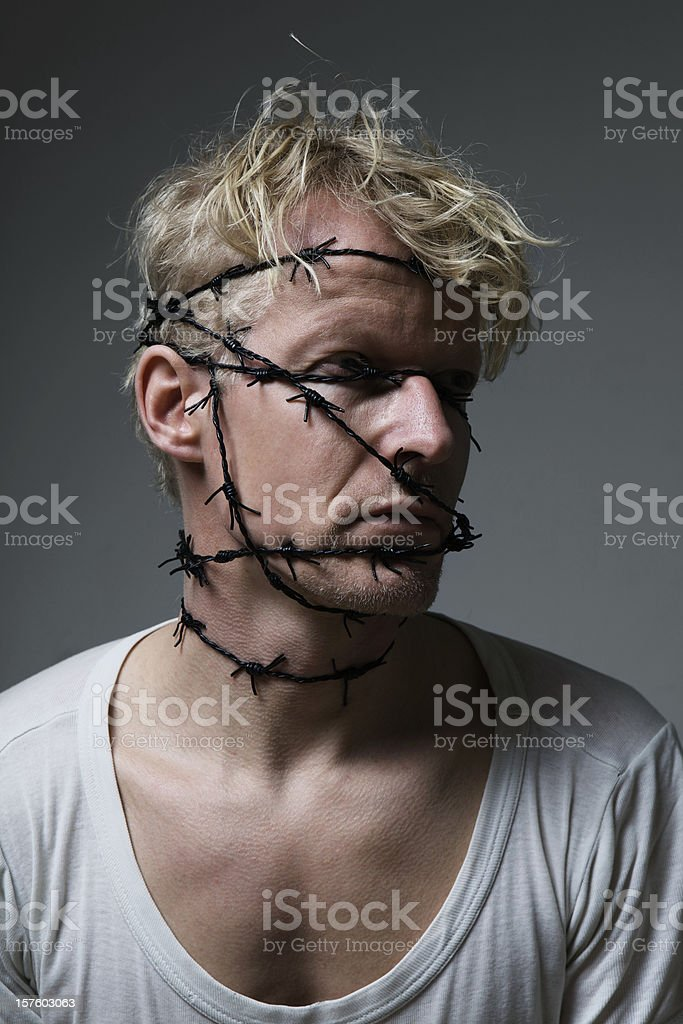 Wired frustration stock photo