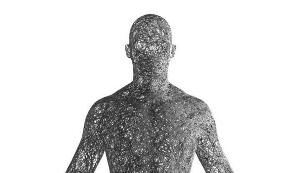 wired man silhouette with alpha channel - człowiek maszyna zdjęcia i obrazy z banku zdjęć