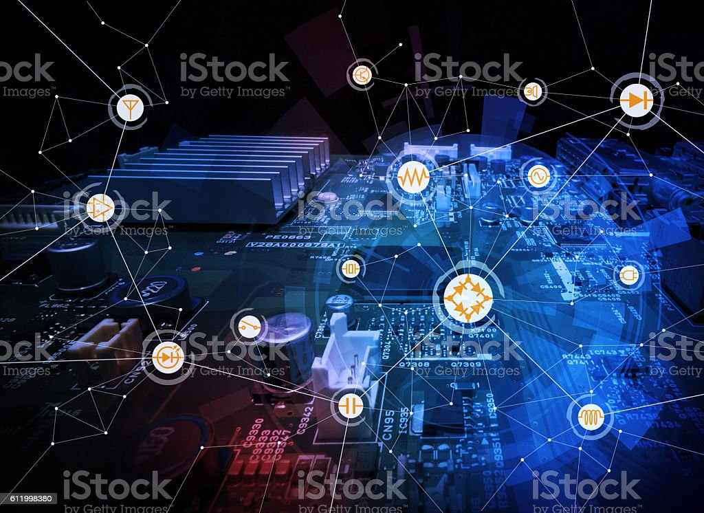 Awesome Wired Schematic Symbol Icons On Electric Circuit Board Stockfoto Und Wiring Cloud Brecesaoduqqnet