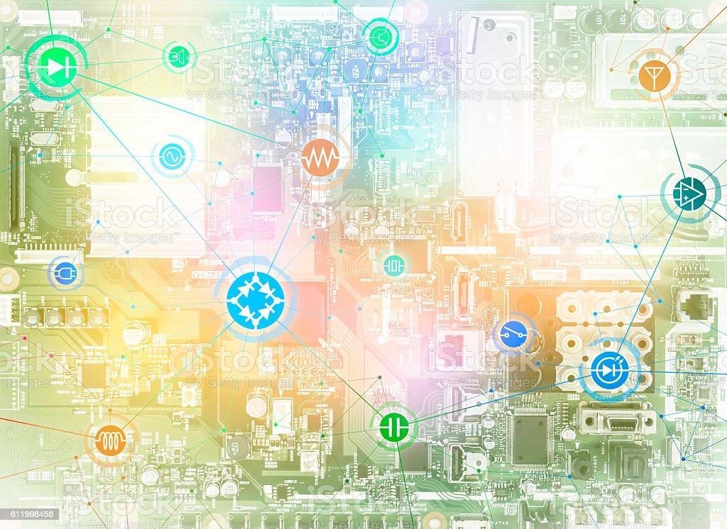 Amazing Wired Schematic Symbol Icons On Electric Circuit Board Stockfoto Und Wiring Digital Resources Caliashwinbiharinl