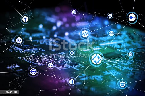 istock wired schematic symbol icons on electric circuit board 613749946