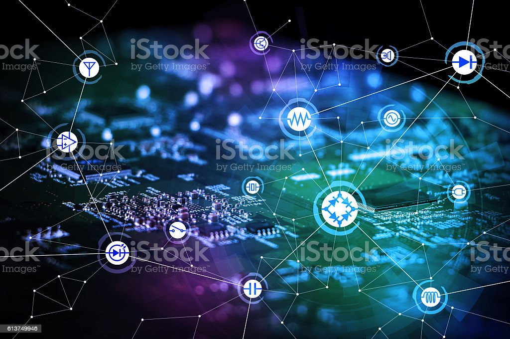 wired schematic symbol icons on electric circuit board stock photo