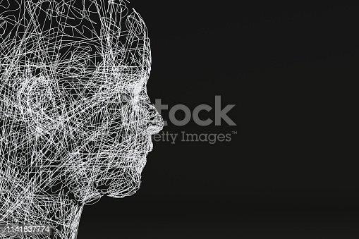 istock 3D Wired Shape Cyborg Head 1141837774