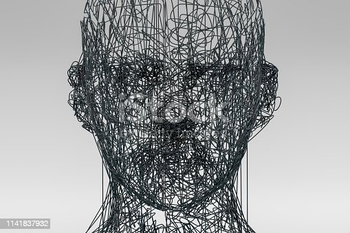 istock 3D Wired Shape Cyborg Head 1141837932
