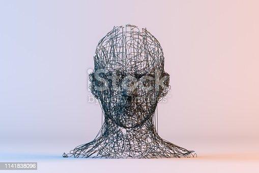 istock 3D Wired Shape Cyborg Head 1141838096