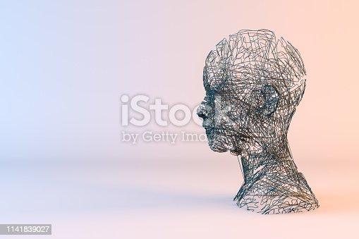 istock 3D Wired Shape Cyborg Head 1141839027