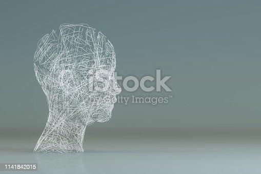 istock 3D Wired Shape Cyborg Head 1141842015