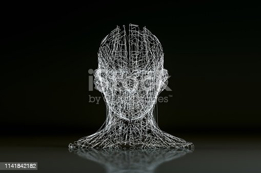 3D rendering Wire frame  Cyborg, Artificial Intelligence, Machine learning Concept,