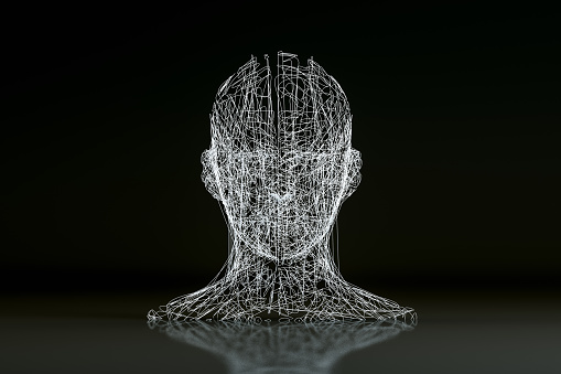istock 3D Wired Shape Cyborg Head 1141842182