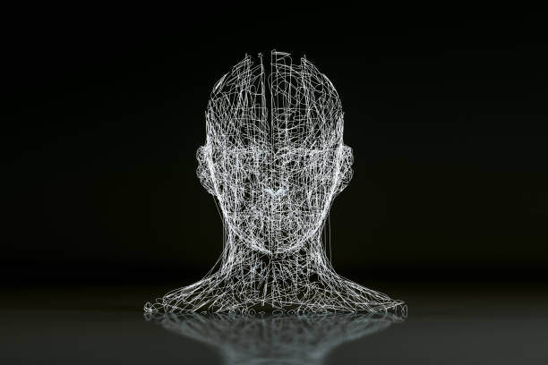3D Wired Shape Cyborg Head 3D rendering Wire frame  Cyborg, Artificial Intelligence, Machine learning Concept, neuroscience abstract stock pictures, royalty-free photos & images
