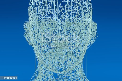 istock 3D Wired Shape Cyborg Head 1146869434