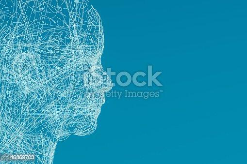 istock 3D Wired Shape Cyborg Head 1146869703