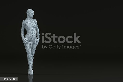 istock 3D Wired Shape Cyborg on Black Background 1149101351