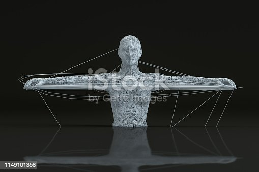 istock 3D Wired Shape Cyborg on Black Background 1149101358