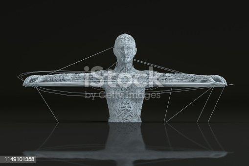 1141842182istockphoto 3D Wired Shape Cyborg on Black Background 1149101358