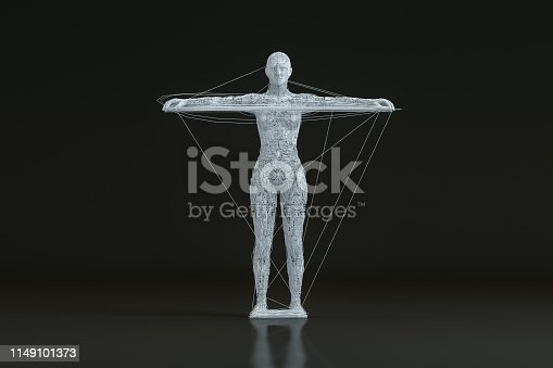 istock 3D Wired Shape Cyborg on Black Background 1149101373