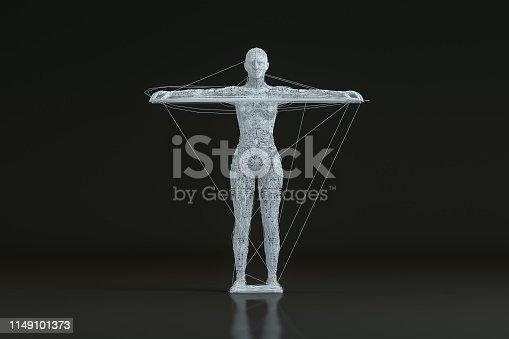1141842182istockphoto 3D Wired Shape Cyborg on Black Background 1149101373