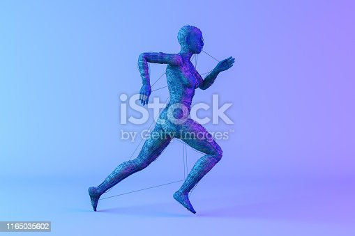 istock 3D Wired Shape Cyborg on Neon Colored Background 1165035602