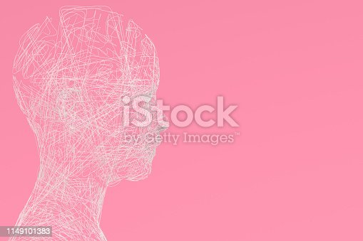 istock 3D Wired Shape Cyborg on Pink Background 1149101383