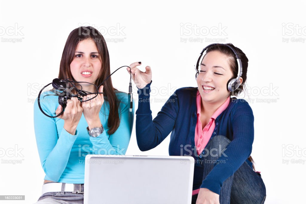 Wired vs Wireless - Teasing royalty-free stock photo