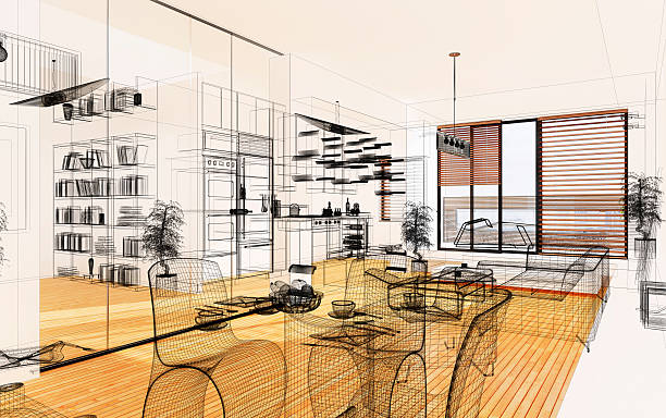 Wireframe 3D Modern home interior. Render Image. Architecture Abstract. stock photo