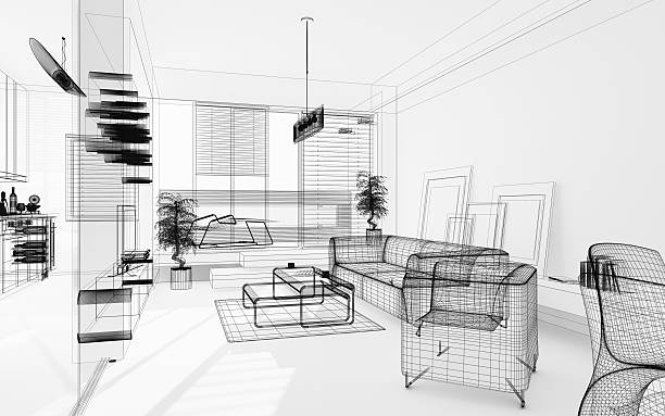 wireframe 3d modern interior. blueprint. render image. architecture abstract. - sketch stock photos and pictures